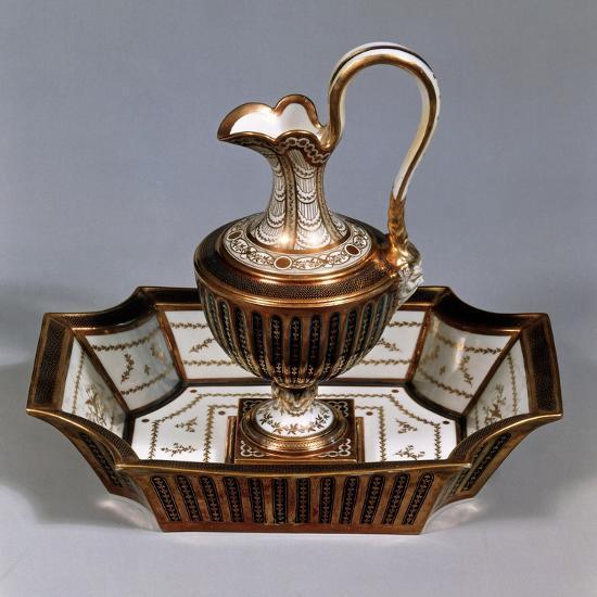 Ewer and Basin, Porcelain, Rue De Bondy Manufacture, Paris, France--Giclee Print