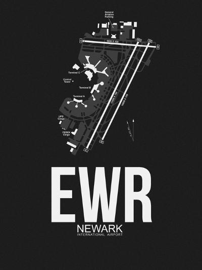 EWR Newark Airport Black-NaxArt-Art Print