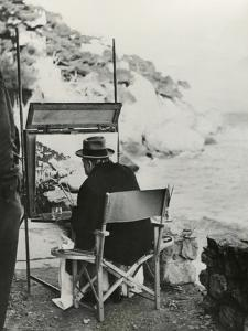 Ex-Prime Minister Winston Churchill Painting on the French Riviera Near Monte Carlo
