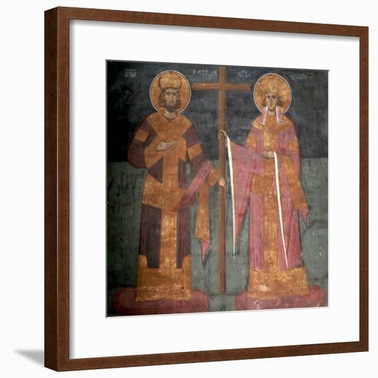 Exaltation of the Cross. Saints Constantine the Great and Helena, Ca 1350--Framed Giclee Print
