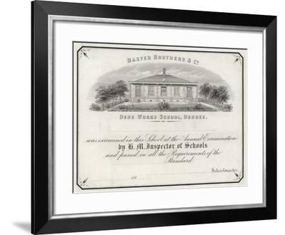Examination Certificate from Dens Works School--Framed Giclee Print