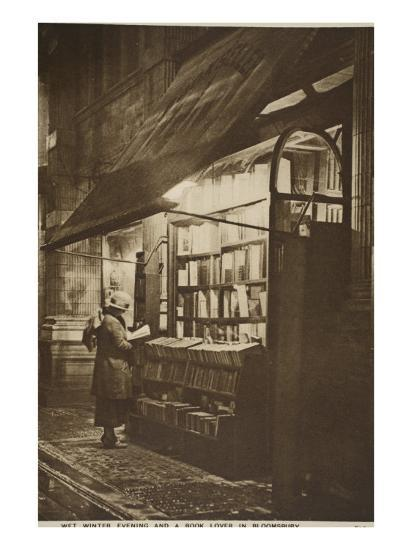 Examining a Book Outside a Second Hand Bookshop on a Wet Winter Evening, Bloomsbury--Giclee Print