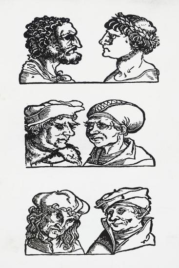 Examples of Atavistic Facial Features, Woodcuts, 15th Century--Giclee Print