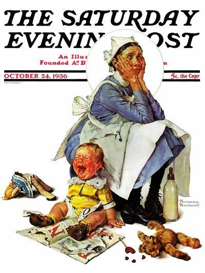 """Exasperated Nanny"" Saturday Evening Post Cover, October 24,1936-Norman Rockwell-Giclee Print"