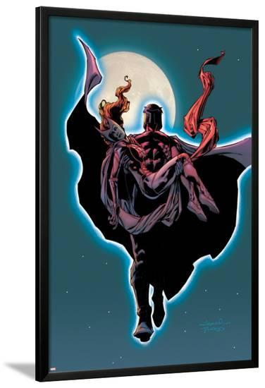 Excalibur No.14 Cover: Magneto and Scarlet Witch Flying-Aaron Lopresti-Lamina Framed Poster