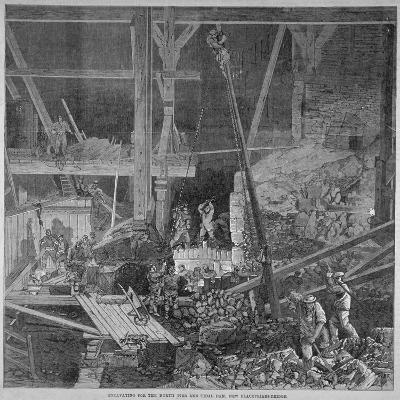 Excavation Work for the North Pier and Tidal Dam at Blackfriars Bridge, London, 1864--Giclee Print