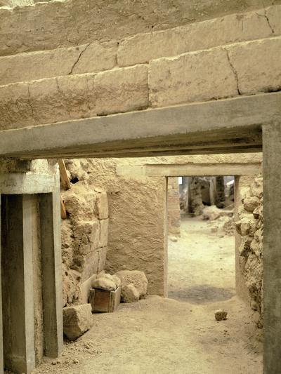 Excavations at the Archaeological Site of Akrotiri on Thera, Now Santorini, Greece--Giclee Print