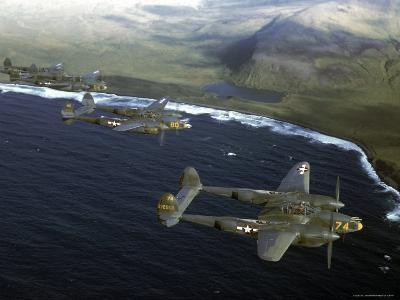 Excellent of a Squadron of American P-38 Fighters in Flight over an Aleutian Island-Dmitri Kessel-Photographic Print