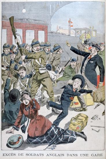 Excesses of British Soldiers in a Railway Station, 1902--Giclee Print