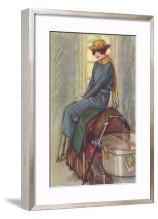 Excited Lady Traveler--Framed Art Print