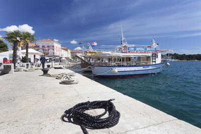 Excursion Boat at the Promenade at the Harbour of Porec, Istra, Croatia, Europe-Markus Lange-Photographic Print