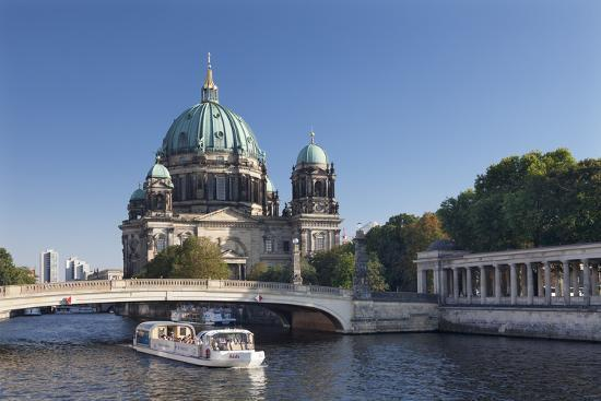 Excursion boat on Spree River, Berliner Dom (Berlin Cathedral), UNESCO World Heritage, Berlin-Markus Lange-Photographic Print
