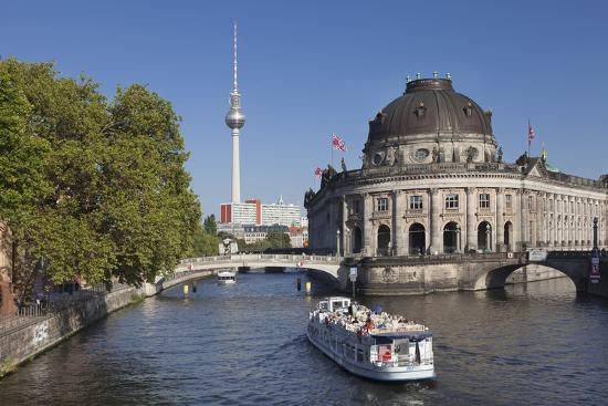 Excursion boat on Spree River, Bode Museum, Museum Island, UNESCO World Heritage, Berlin, Germany-Markus Lange-Photographic Print