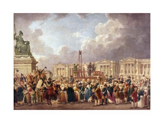 Execution by Guillotine in Paris During the French Revolution, 1790S (1793-180)-Pierre Antoine De Machy-Giclee Print