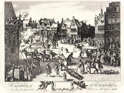 Execution of the Conspirators in the Gunpowder Plot in Old Palace Yard, Westminster, 1606-R Romney-Giclee Print