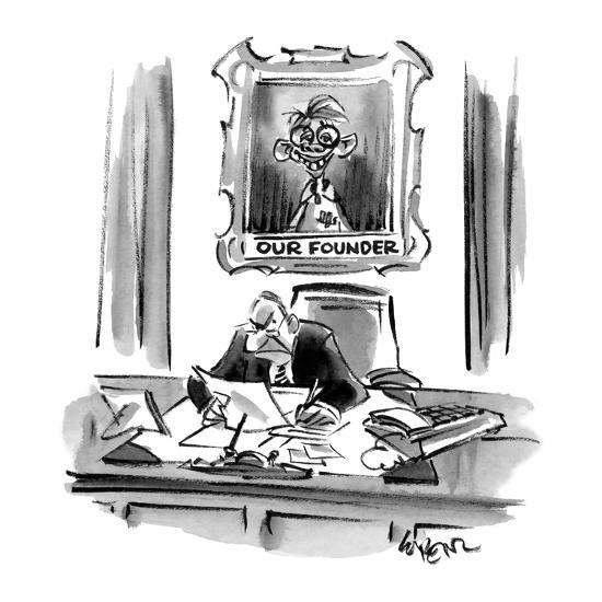 Executive sitting at desk with a portrait behind him of an imbicile titled? - Cartoon-Lee Lorenz-Premium Giclee Print