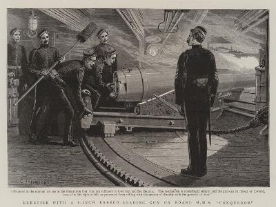 Exercise with a 6-Inch Breech-Loading Gun on Board HMS Conqueror-Charles Joseph Staniland-Giclee Print