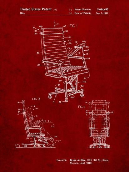 Exercising Office Chair Patent-Cole Borders-Art Print