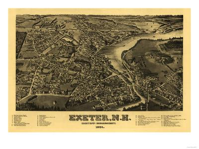 Exeter, New Hampshire - Panoramic Map-Lantern Press-Art Print