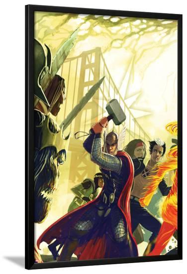 Exiled No.1 Cover: Thor, X-Man, and Loki-Stephanie Hans-Lamina Framed Poster