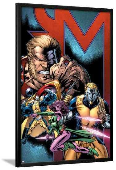 Exiles No.69 Cover: Sabretooth, Blink, Mimic, Morph and Exiles-Paul Pelletier-Lamina Framed Poster