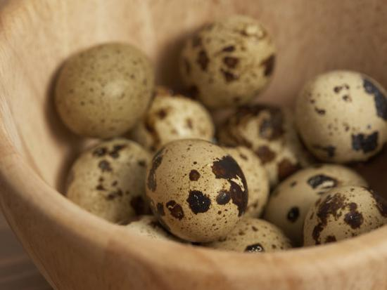 Exotic Bird Eggs in Wooden Bowl on Table--Photographic Print