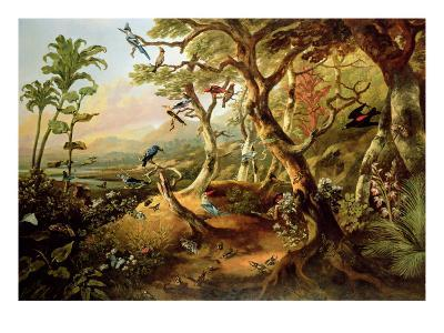 Exotic Birds and Insects Among Trees and Foliage in a Mountainous River Landscape-Philip Reinagle-Giclee Print