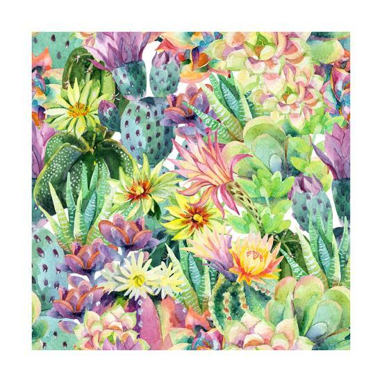 Exotic Cacti with Flowers Pattern - Succulents-tanycya-Art Print
