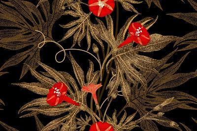 Exotic Climbing Plant Ivy. Vector Seamless Floral Pattern. Golden Branch, Leaves, Red Flowers on Bl-mamita-Art Print