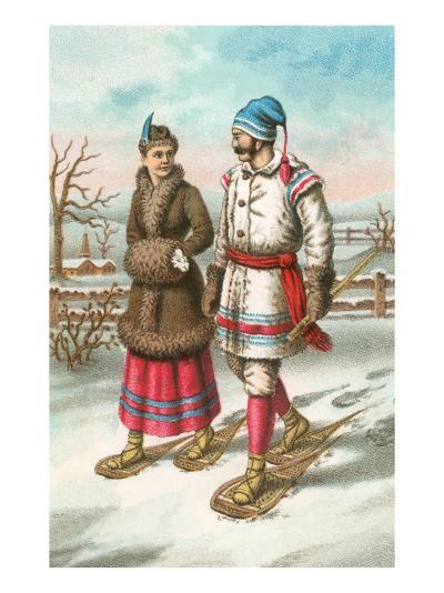 Exotic Couple on Snow Shoes--Art Print