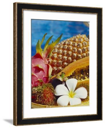 Exotic Fruits: Lychees, Red Pitahaya, Papaya, Pineapple-Vladimir Shulevsky-Framed Photographic Print