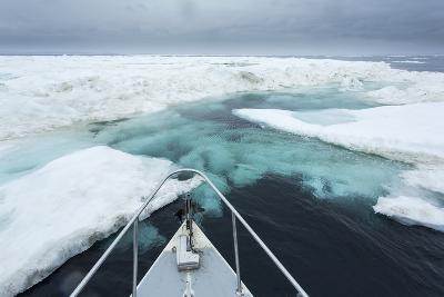 Expedition Boat and Sea Ice, Hudson Bay, Nunavut, Canada-Paul Souders-Photographic Print