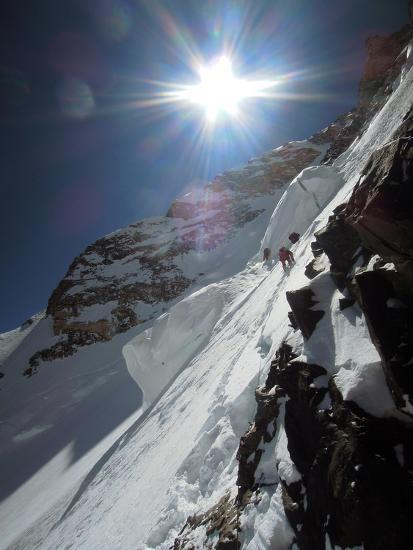Expedition Members Approach the Japanese Couloir-Darius Zaluski-Photographic Print