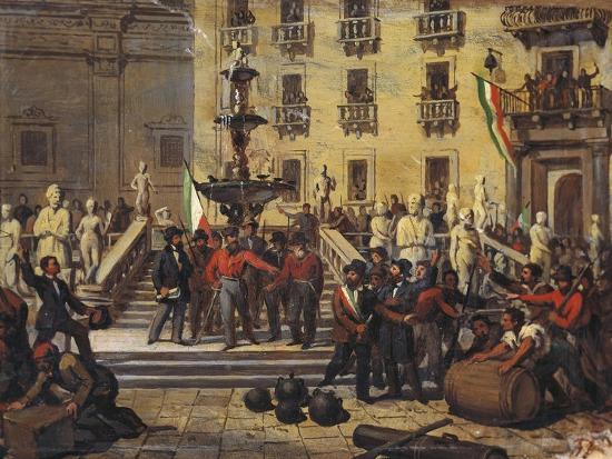 Expedition of Thousand, Giuseppe Garibaldi in Pretoria Square in Palermo, June 1860--Giclee Print