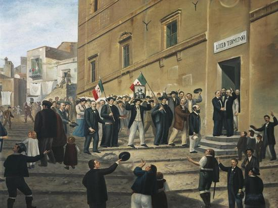 Expedition of Thousand, Masses Celebrate Arrival of Garibaldi's Supporters in Termini Imerese--Giclee Print