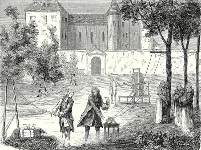Experiment Conducted in 1746 by Lemonnier in the Monastry of Chartreux to Measure the Speed of Elec--Giclee Print