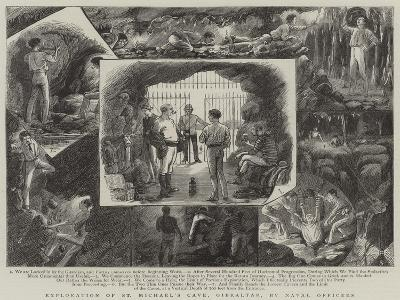 Exploration of St Michael's Cave, Gibraltar, by Naval Officers--Giclee Print