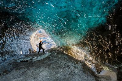 Exploring a Glacial Ice Cave, Svinafellsjokull, Iceland--Photographic Print