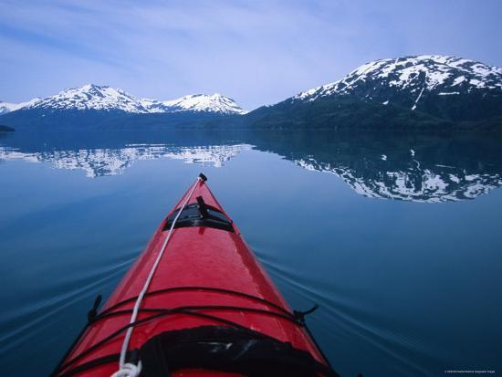 Exploring in a Sea Kayak a Calm Bay Off the Prince William Sound, Alaska-Bill Hatcher-Photographic Print