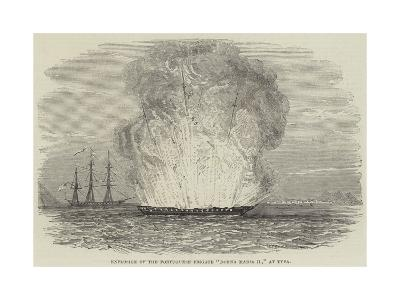 Explosion of the Portuguese Frigate Donna Maria II, at Typa--Giclee Print