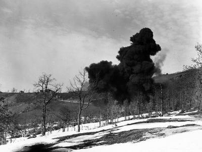 Explosion Used to Detonate German Mines, February 21, 1945--Photographic Print