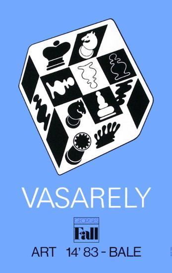 Expo Art Basel 83 - Echecs fond bleu-Victor Vasarely-Collectable Print