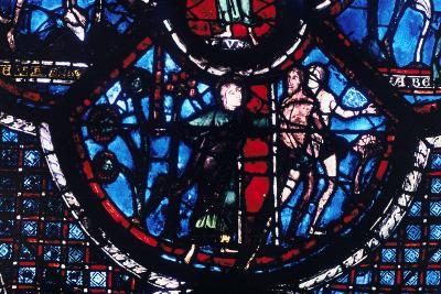 Expulsion from Eden, Stained Glass, Chartres Cathedral, France, 1205-1215--Photographic Print