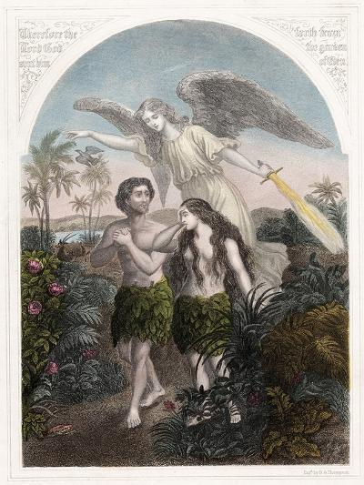 Expulsion of Adam and Eve from the Garden of Eden, C1860--Giclee Print