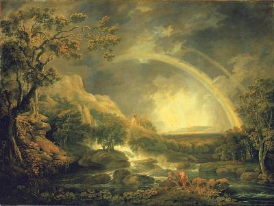 Extensive Wooded River Landscape, with Anglers Beside a Pool Below a Waterfall, and a Rainbow-George the Elder Barret-Giclee Print