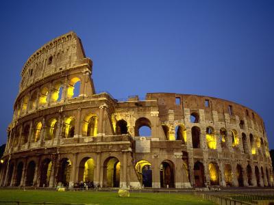 Exterior Amphitheater Ruins, Rome, Italy-Doug Mazell-Photographic Print