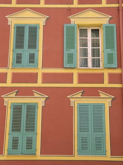 Exterior of a Formal Fa�e with Blue Shutters and Orange Walls, Ajaccio, Corsica, France-Thouvenin Guy-Photographic Print