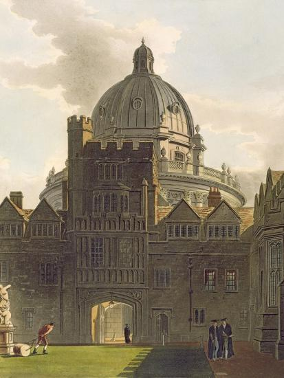 Exterior of Brasenose College and Radcliffe Library, Illustration from the 'History of Oxford'-Augustus Charles Pugin-Giclee Print