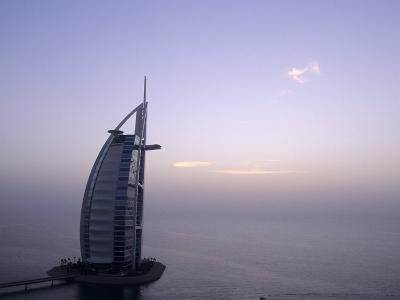 Exterior of Burj Al Arab Hotel, Dubai, United Arab Emirates-Holger Leue-Photographic Print