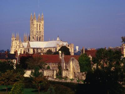 Exterior of Canterbury Cathedral with Other City Buildings in Foreground, Canterbury, Uk-Johnson Dennis-Photographic Print